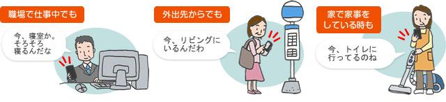 ご高齢者のご家族の方に、スマートフォンを追加って暮らしぶりがわかります。安心して離れて暮らす方を見守ることができます。